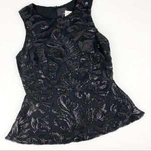 $120 Greylin Sequin Peplum Top Sleeveless Black